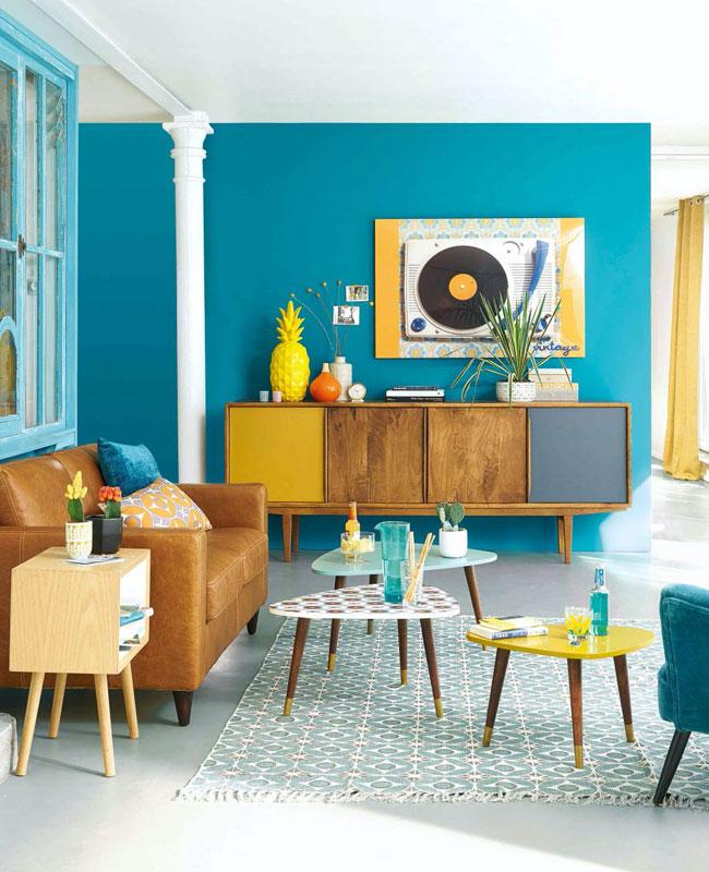deco scandinave bleu canard salon mur