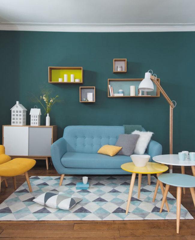 deco scandinave bleu canard salon jaune