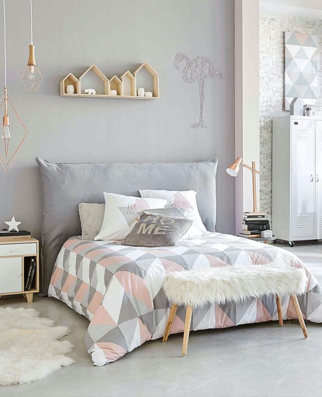 deco scandinave cosy chambre rose gris