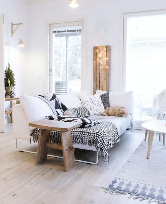 deco scandinave cosy salon bois