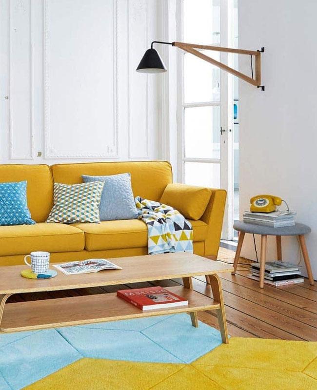 deco scandinave jaune canapé