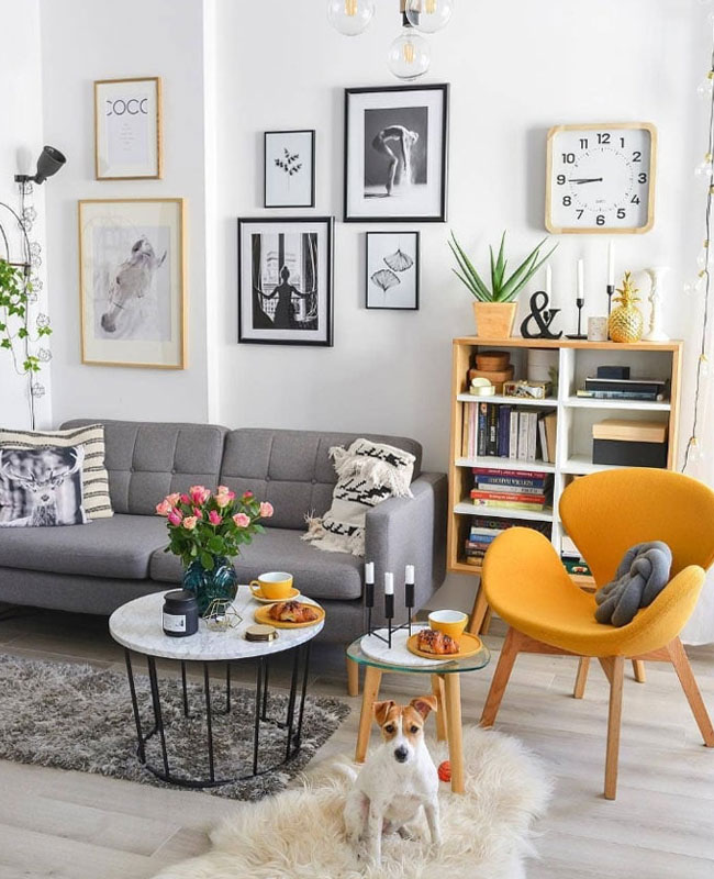 deco scandinave jaune fauteuil salon