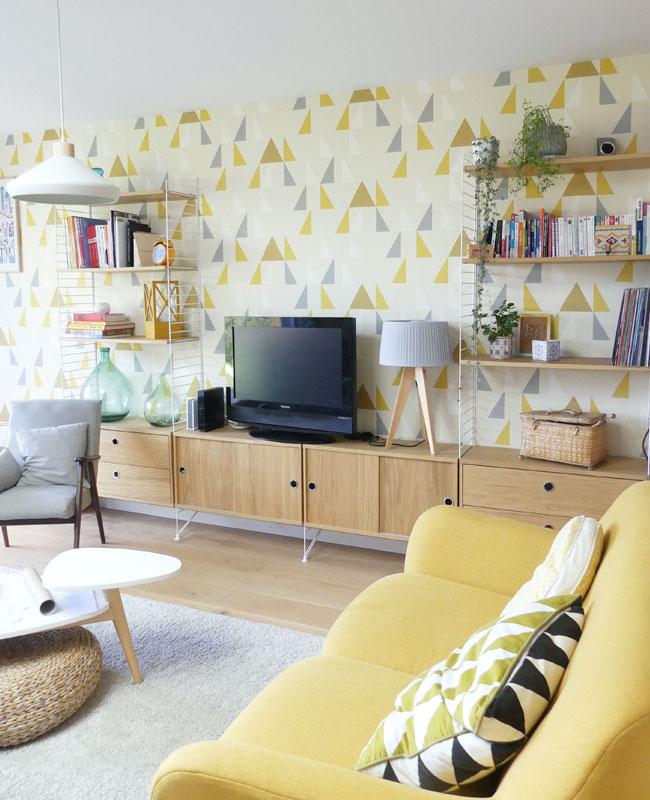 deco scandinave jaune papier peint géométrique