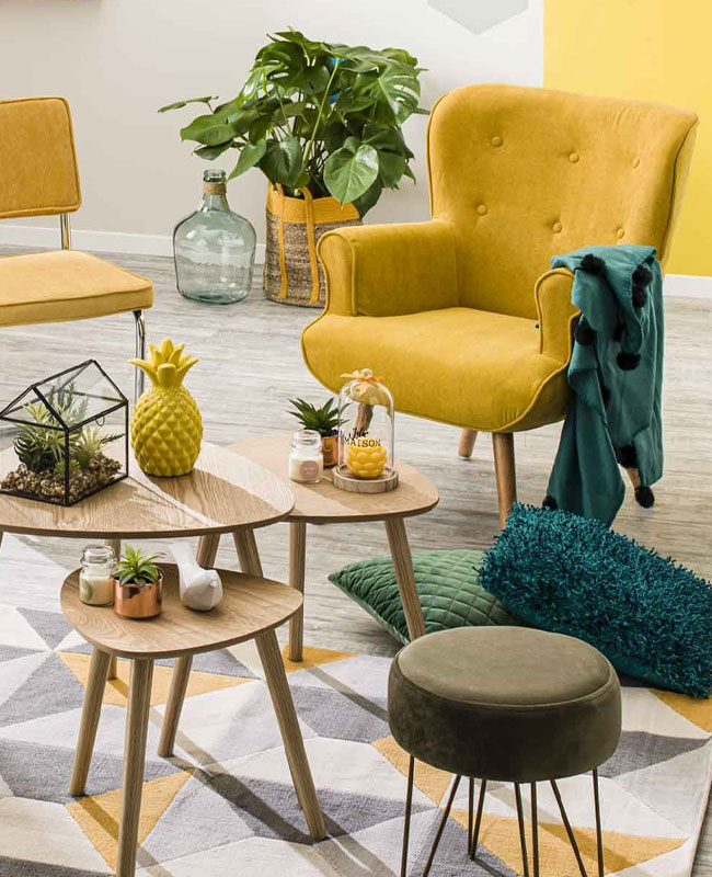 deco scandinave jaune moutarde fauteuil salon
