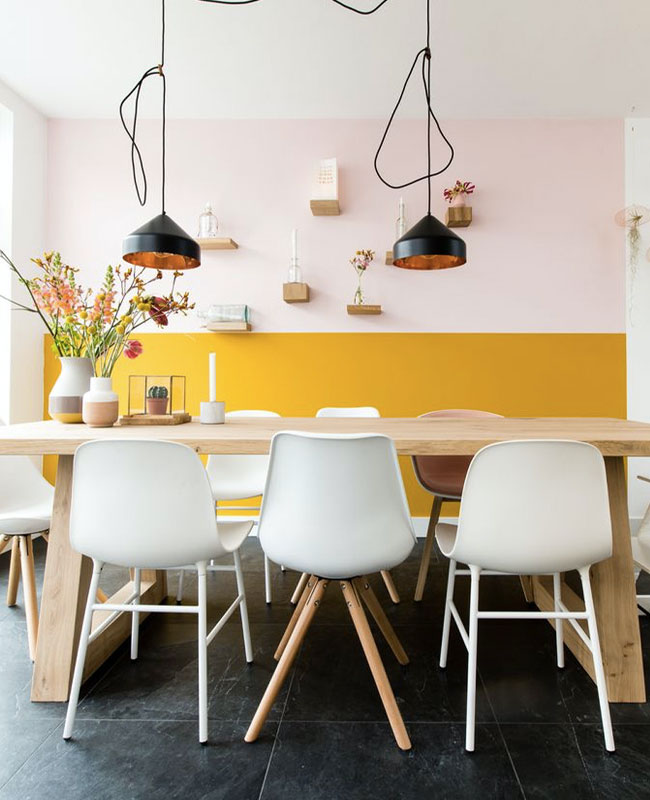 deco scandinave jaune moutarde salle a manger rose