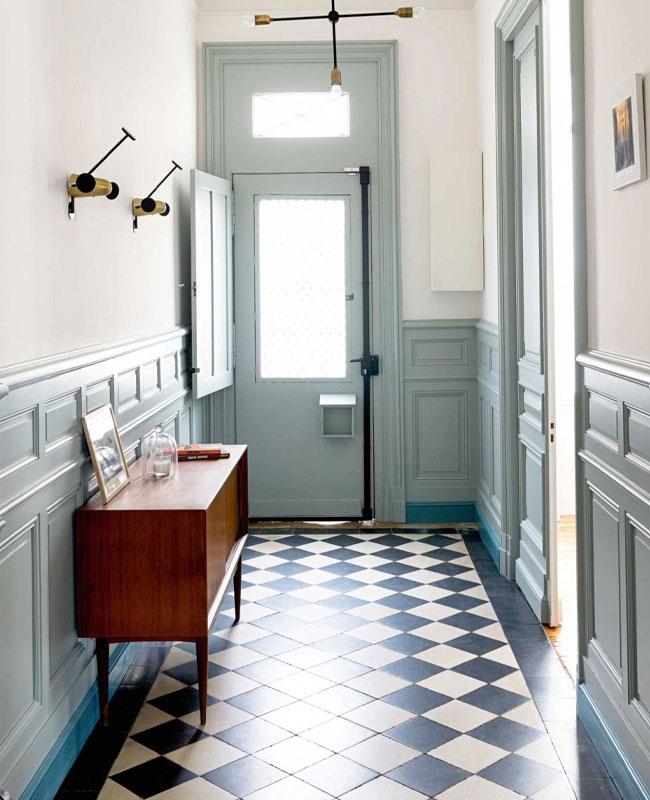 deco couloir carreaux de ciment noir blanc vert