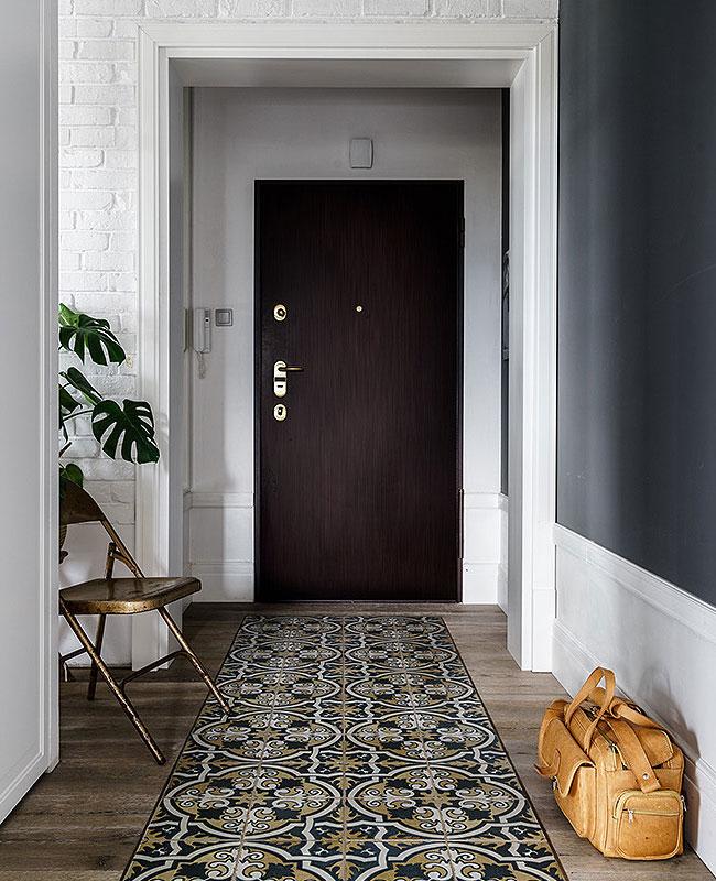 deco couloir carreaux de ciment tapis chic