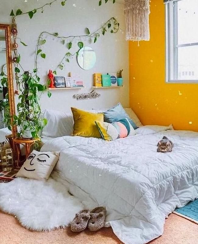 deco boheme jaune chambre mur