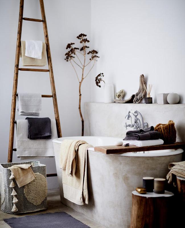 deco boheme moderne salle de bain beton
