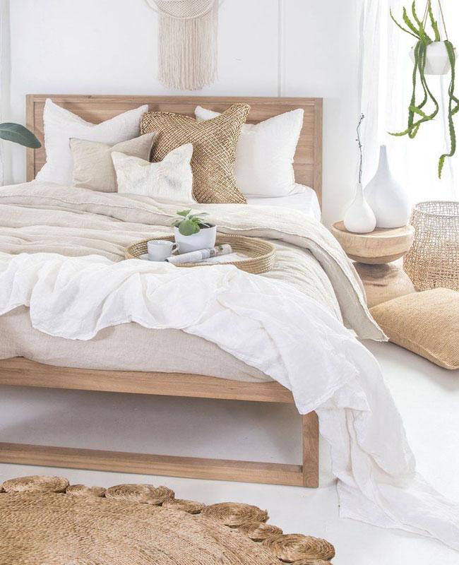 deco boheme scandinave chambre blanc bois