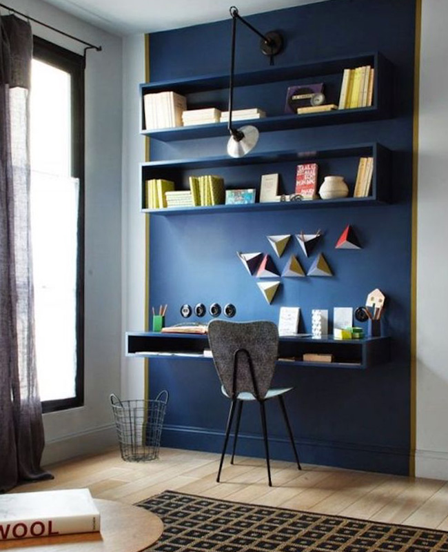 deco bureau bleu canard mur