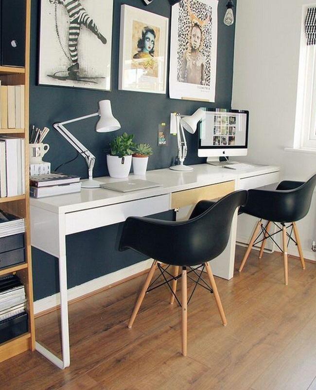 deco bureau bleu canard mur blanc