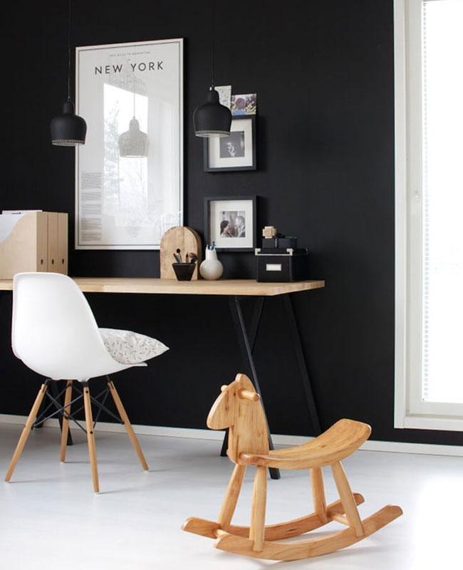deco bureau noir blanc bois mur