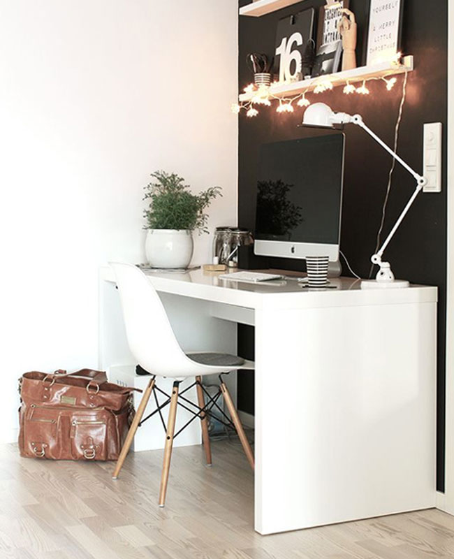 deco bureau noir blanc mur