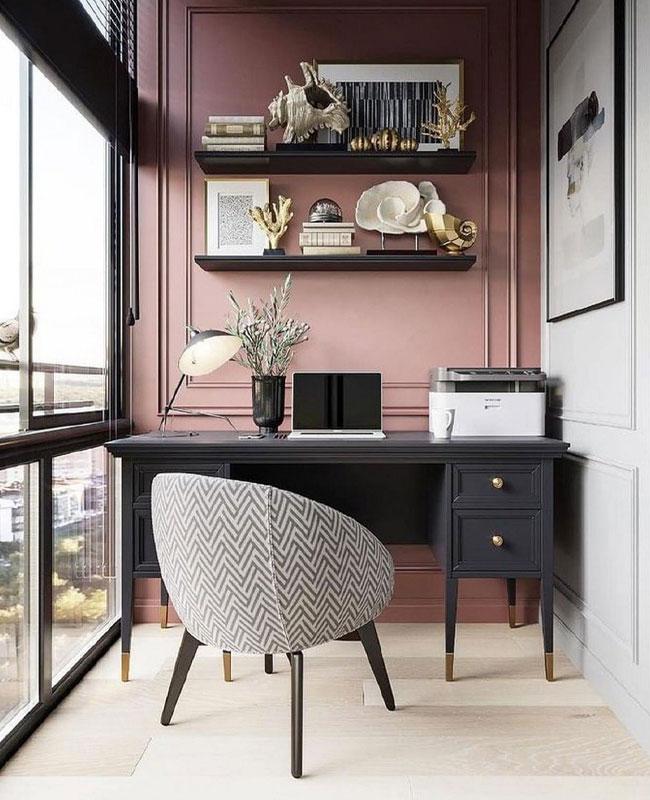 deco bureau noir rose chic