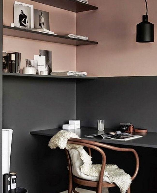 deco bureau noir rose moderne