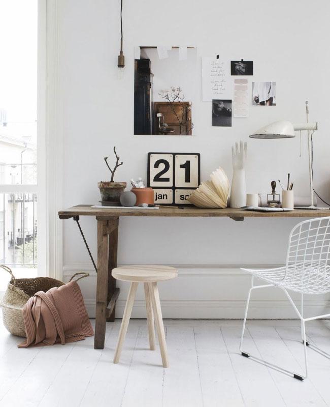 deco bureau scandinave bois blanc