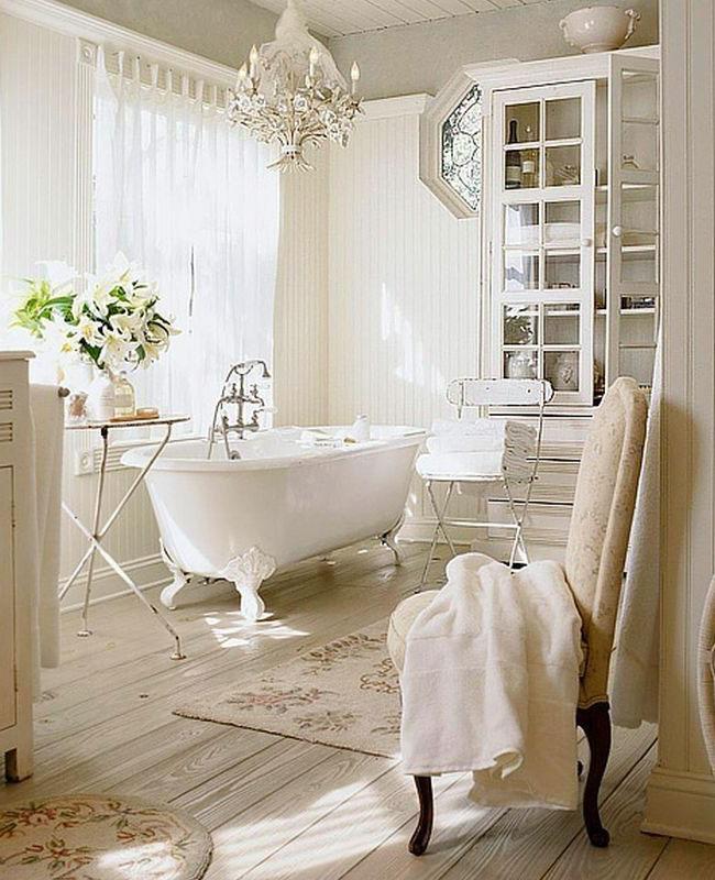 deco campagne beige salle de bain romantique