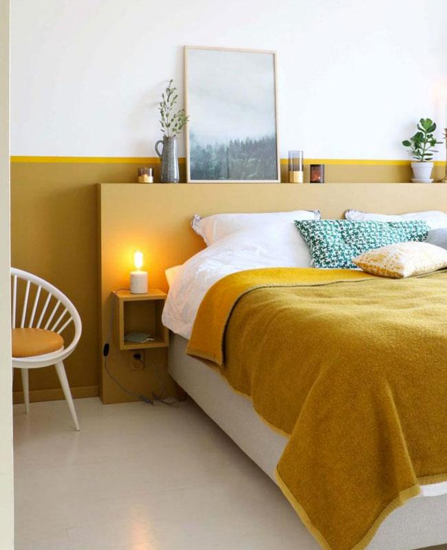 deco chambre jaune moutarde plaid