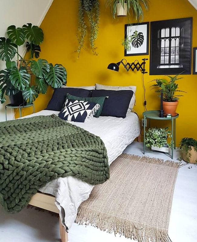 deco chambre jaune moutarde peinture mur
