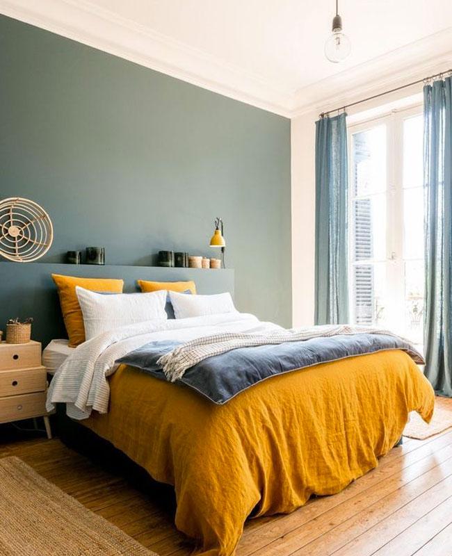 deco chambre jaune moutarde house de couette lin