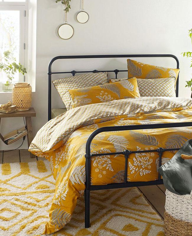 deco chambre jaune moutarde housse de couette motifs