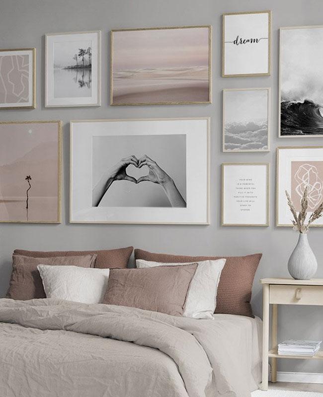 deco chambre rose beige cadres