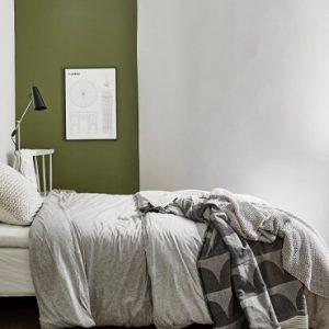 deco chambre vert kaki beige