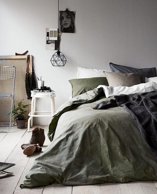 deco chambre vert kaki beige linge de lit
