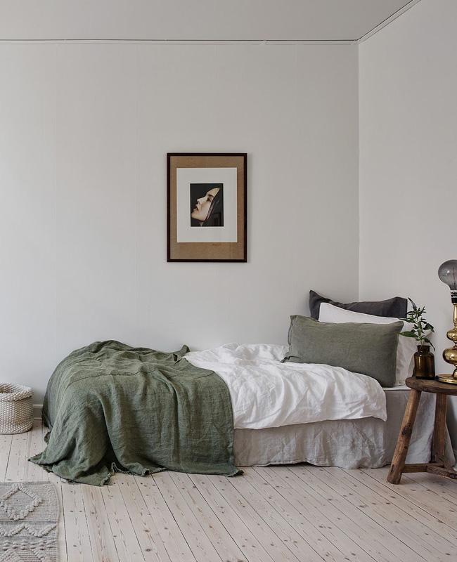 deco chambre vert kaki beige plaid