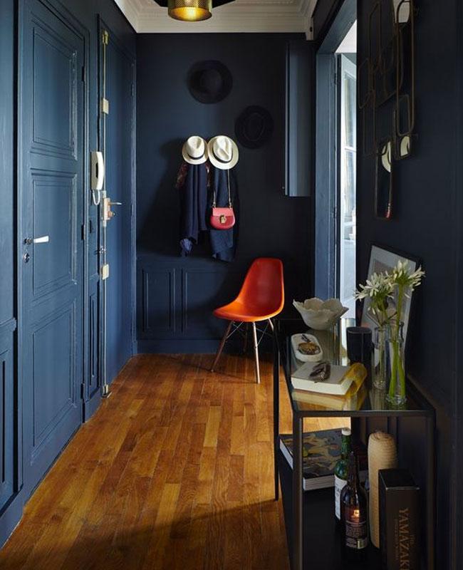deco couloir bleu peinture mur