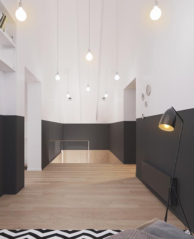 deco couloir gris blanc moderne anthracite