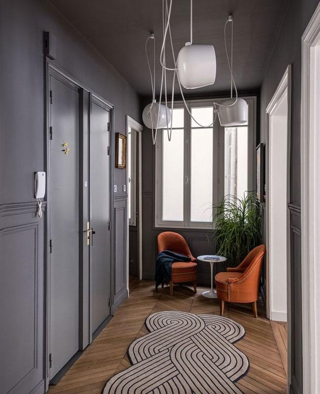 deco couloir moderne mur sombre gris