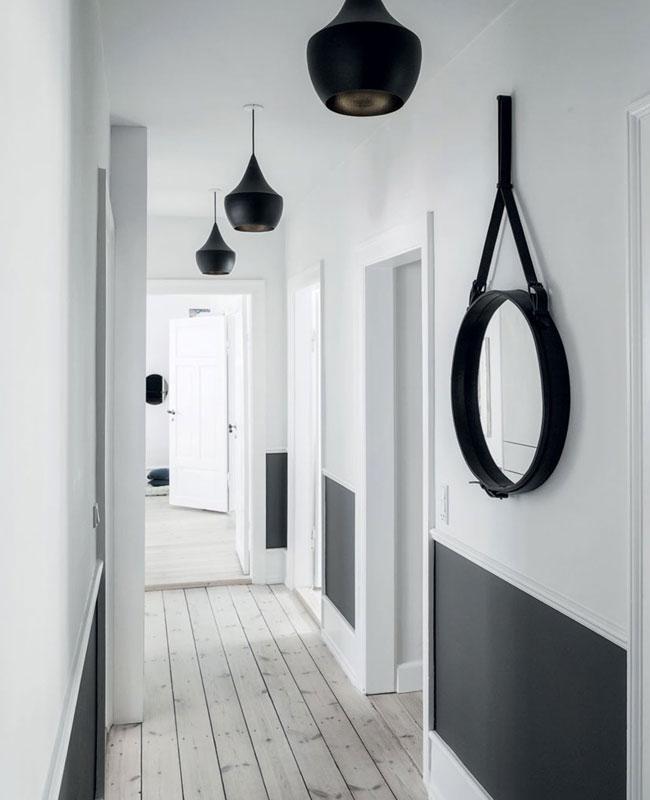 deco couloir moderne noir blanc