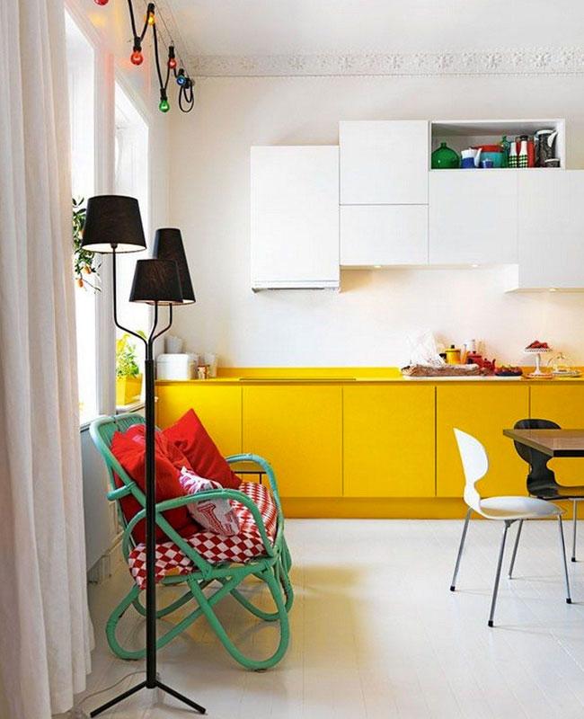 deco cuisine jaune meuble bas