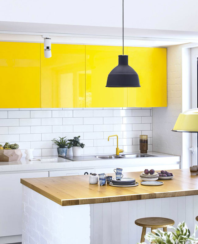 deco cuisine jaune meuble haut