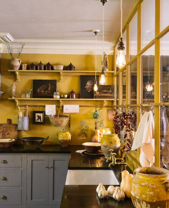 deco cuisine jaune mur peinture