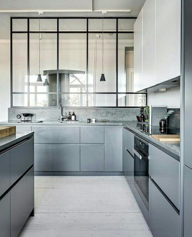 deco cuisine moderne gris verriere