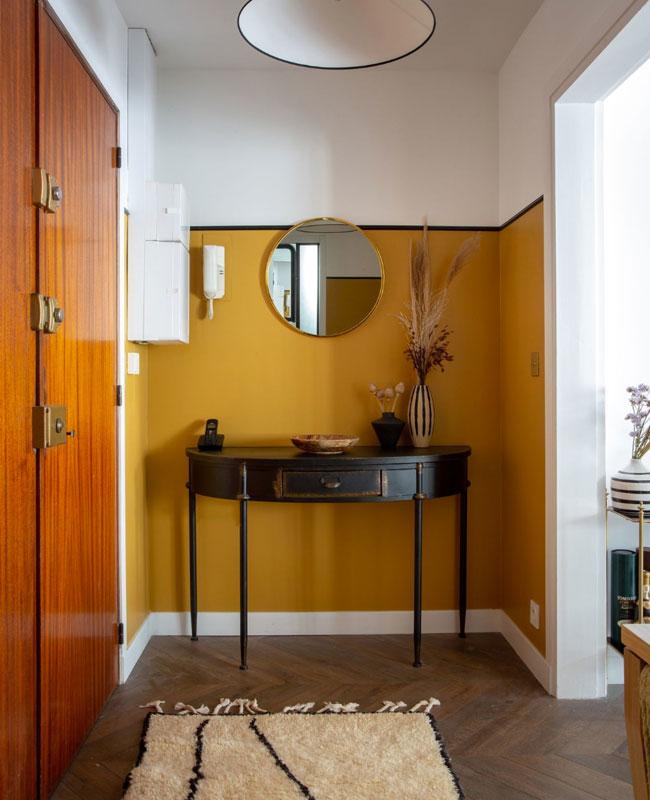 deco entree jaune moutarde mur peinture