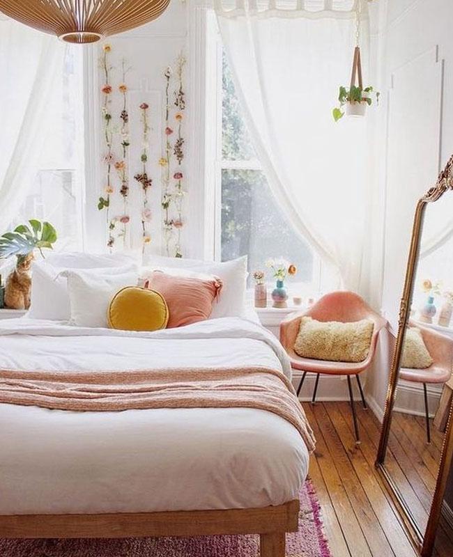 deco jaune moutarde rose chambre boheme