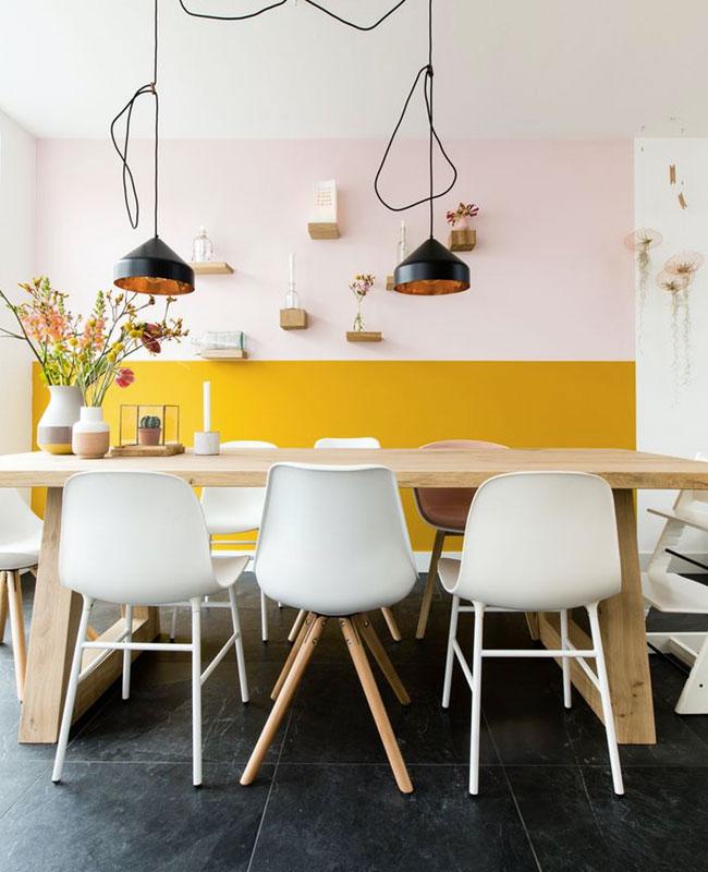 deco jaune moutarde rose mur salle a manger