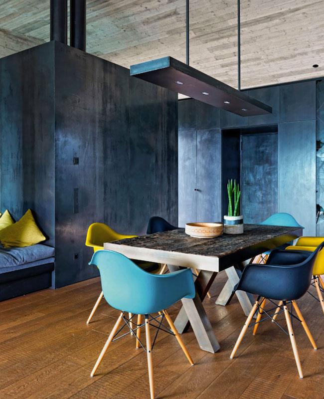 deco moderne bleu canard salle a manger mur