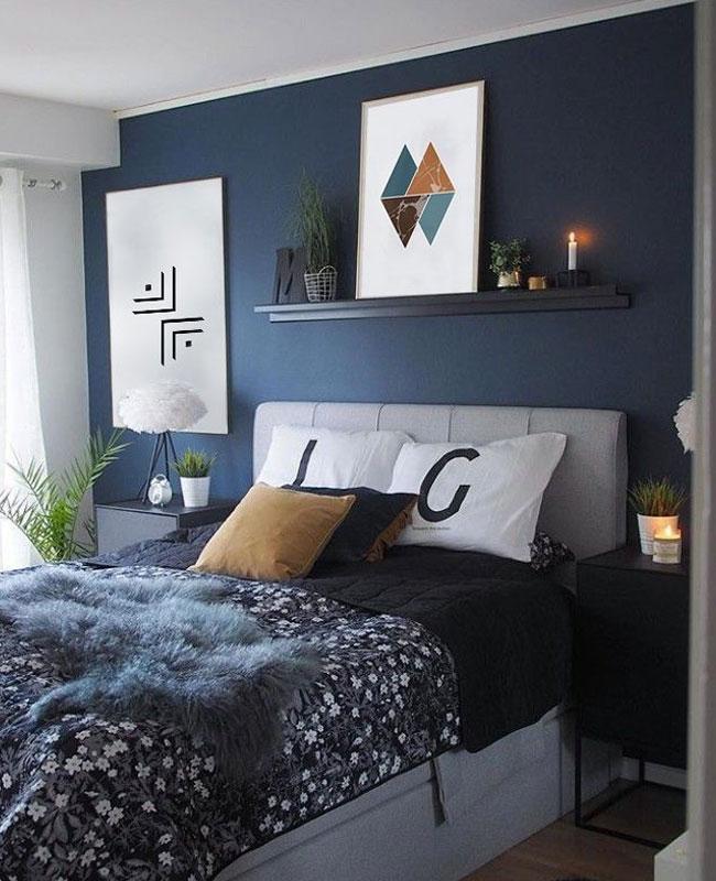 deco moderne bleu canard chambre mur tête de lit