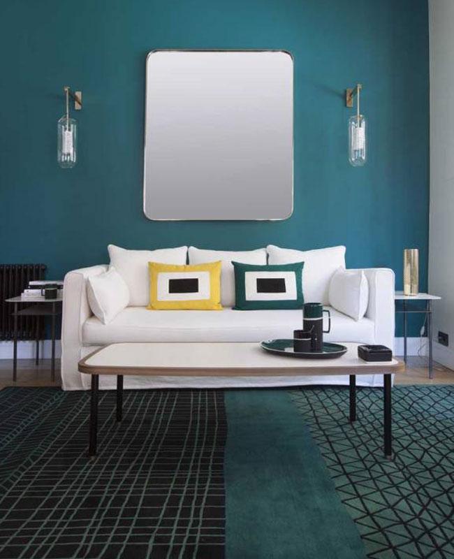 deco moderne bleu canard salon mur tapis