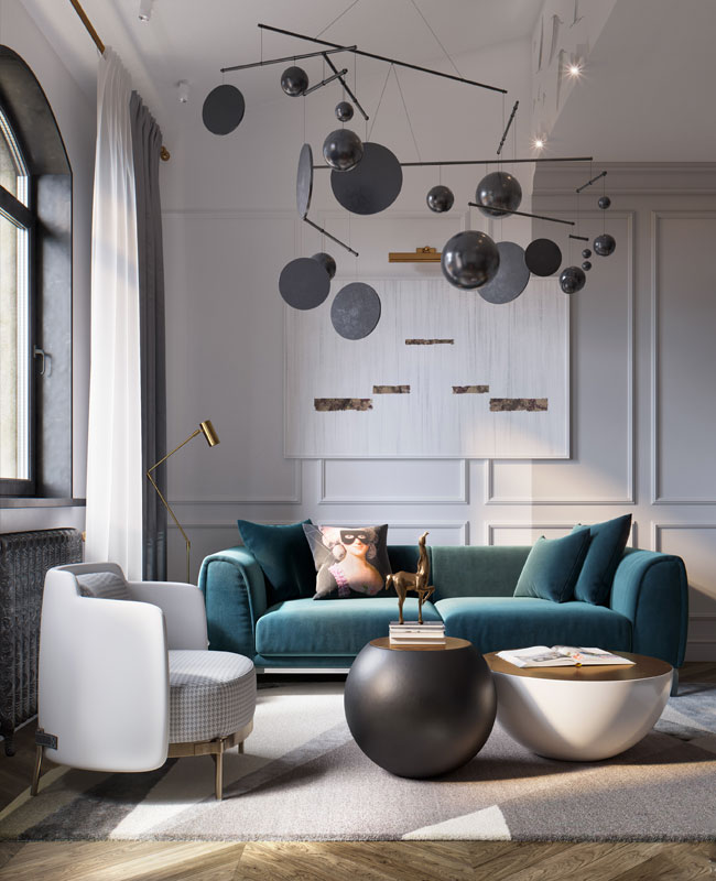 deco moderne bleu canard salon canapé