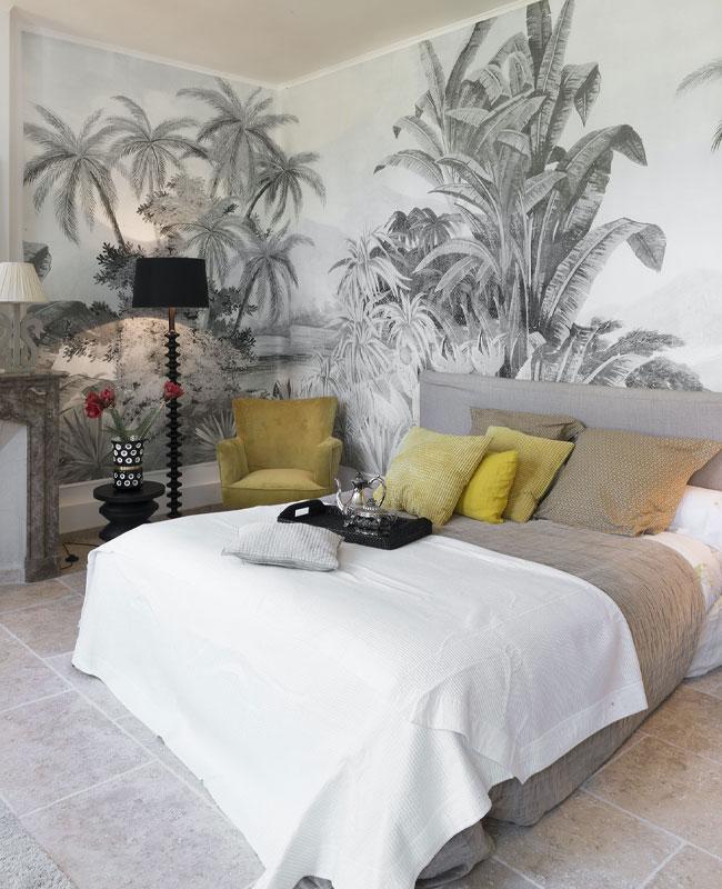 deco papier peint chambre panoramique tropical