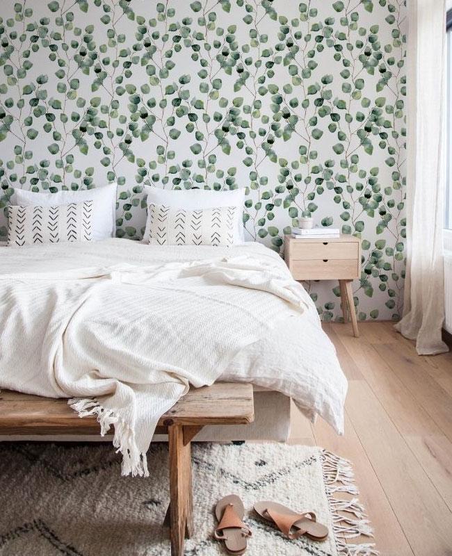 deco papier peint chambre végétal