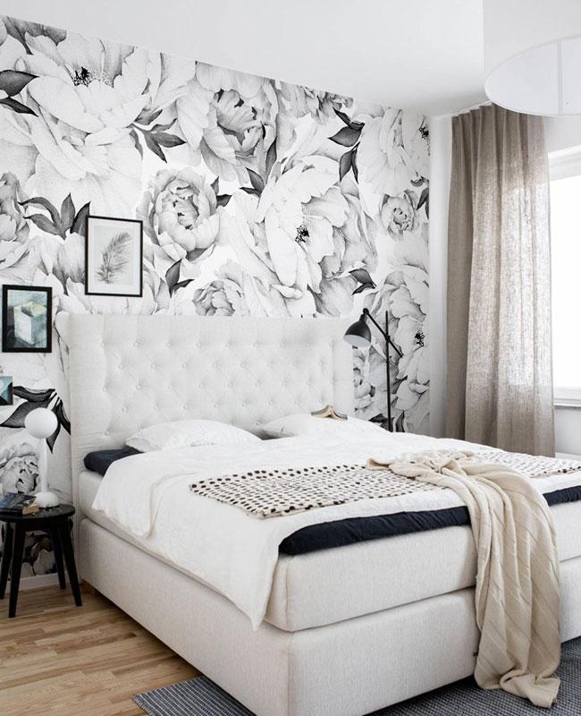 deco papier peint chambre floral noir blanc