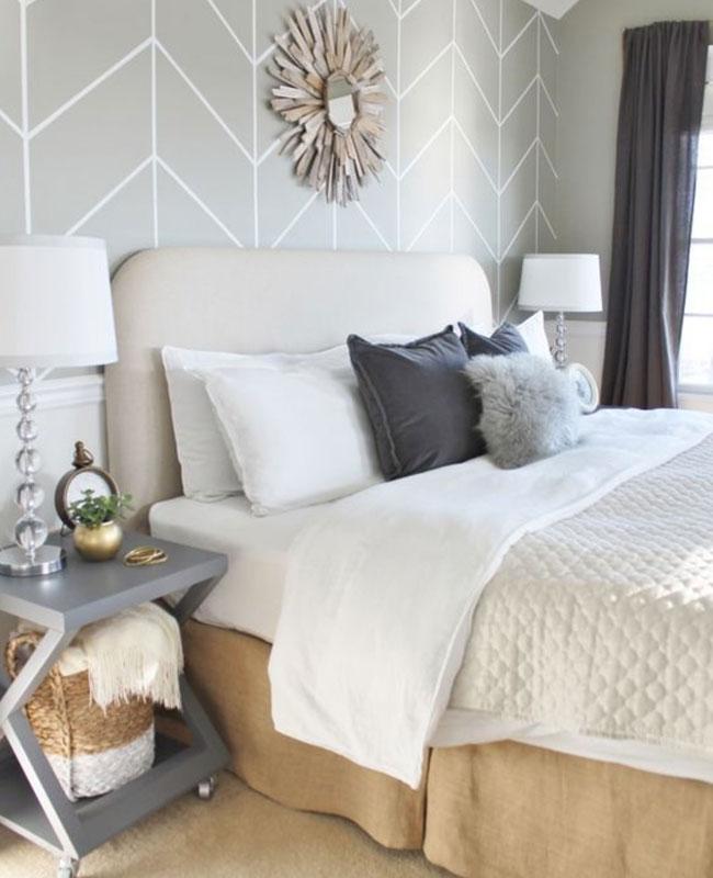 deco papier peint chambre moderne gris blanc