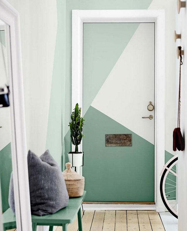 deco peinture entrée porte géométrique